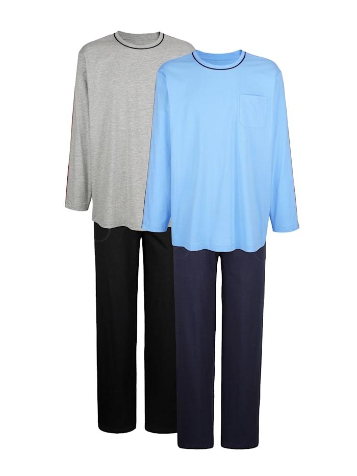 BABISTA Schlafanzüge im 2er-Pack aus dem Cotton made in Africa Programm, Blau/Grau