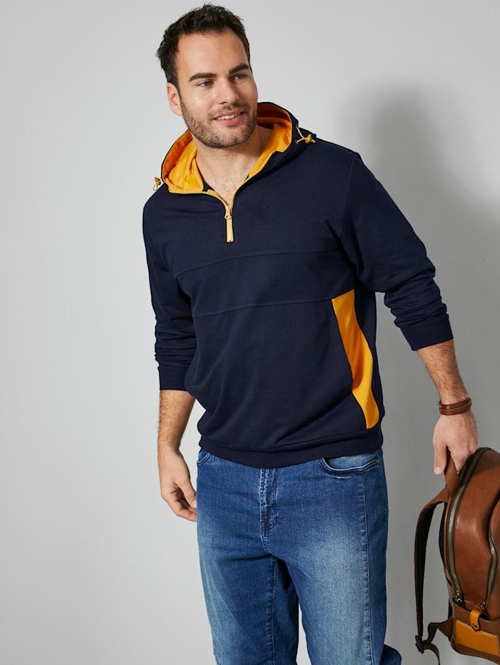 Men Plus Kapuzensweatshirt mit Gummizug und Stoppern, Marineblau/Maisgelb
