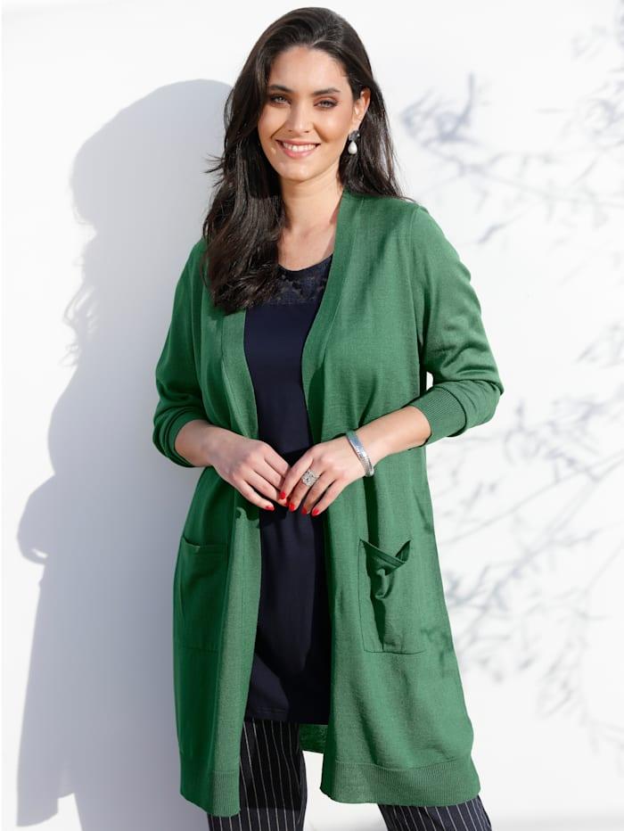 MIAMODA Dlhý sveter s praktickými vreckami, Zelená