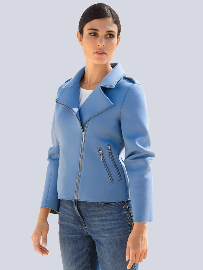 Alba Moda Veste en jersey de style motard mode, Bleu/Gris