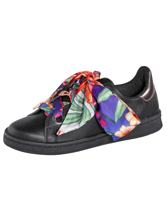 KLiNGEL Sneaker mit auffälliger Satinschnürung, Schwarz