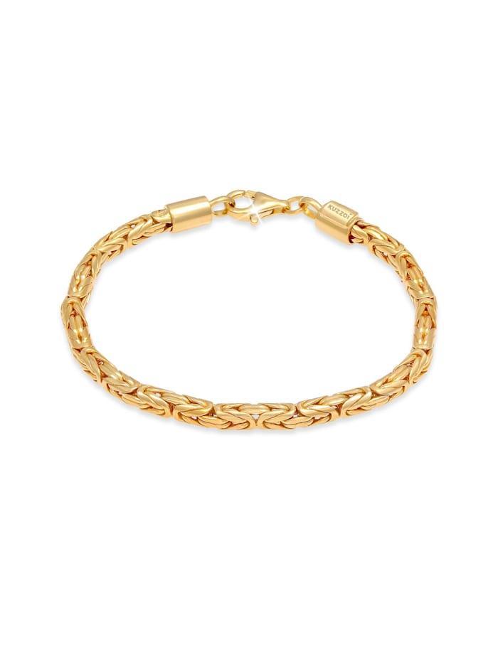 Kuzzoi Armband Basic Männer Königskette Robust Massiv 925 Silber, Gold