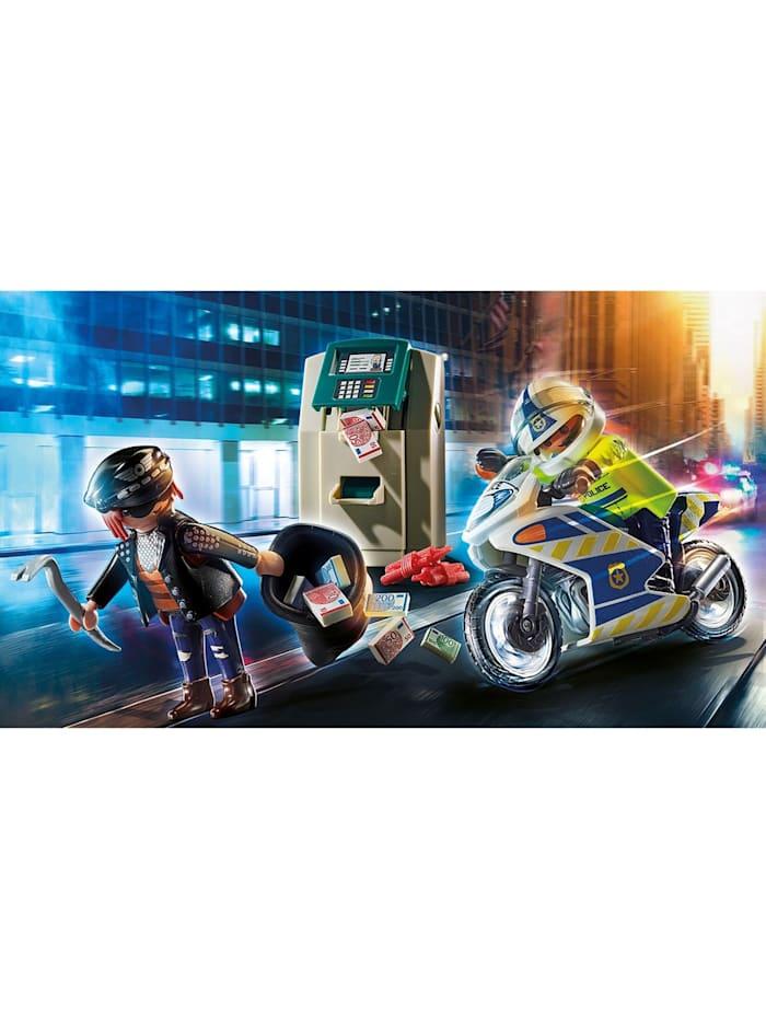 Konstruktionsspielzeug Polizei-Motorrad: Verfolgung des Geldräubers