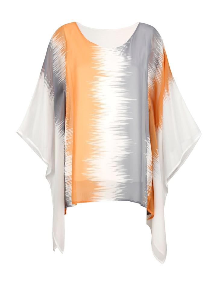 AMY VERMONT Bluse mit Fledermausärmeln, Off-white/Silberfarben/Goldfarben