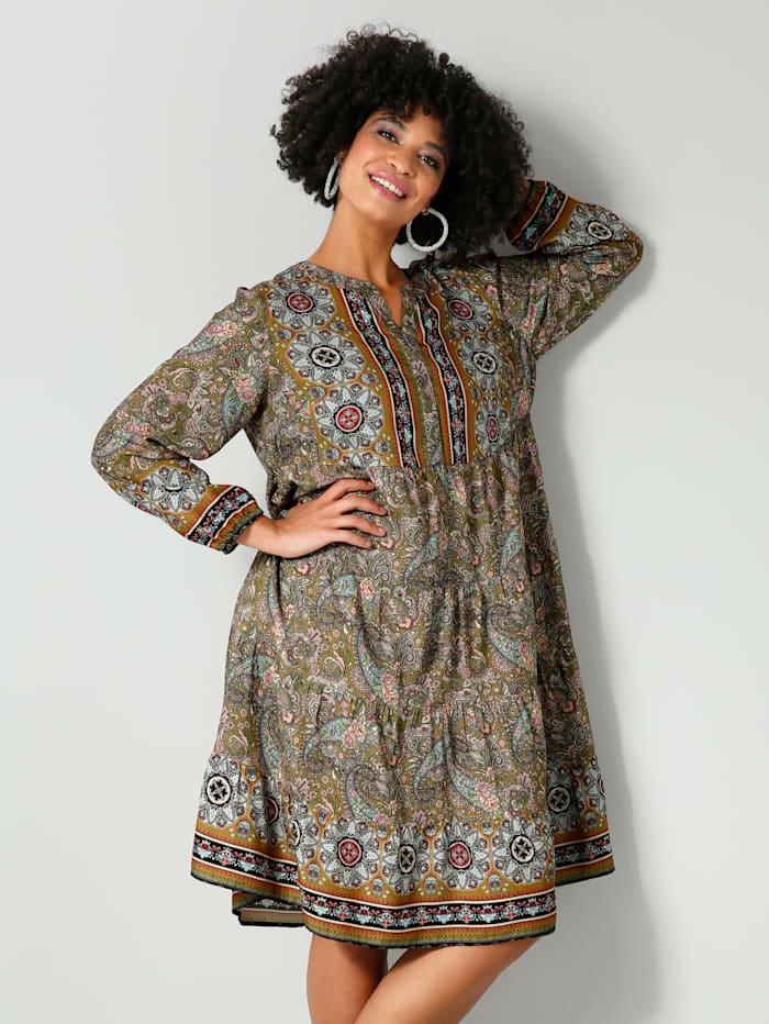 Angel of Style Web-Kleid mit schönem Paisley-Muster, Oliv/Rosé/Hellblau/Schwarz