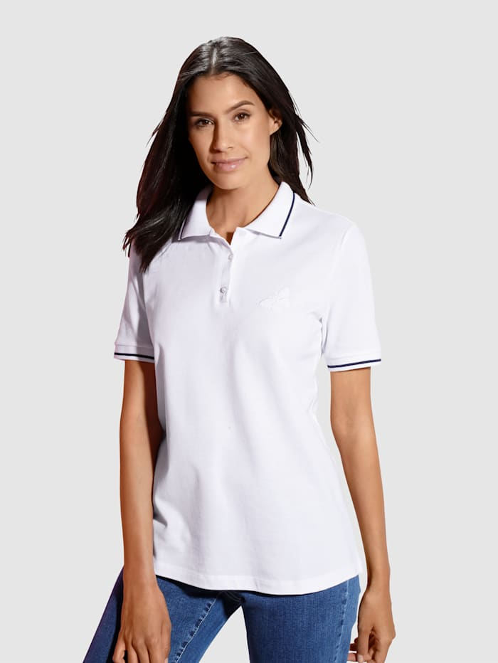 Dress In Poloshirt mit Stickerei, Weiß