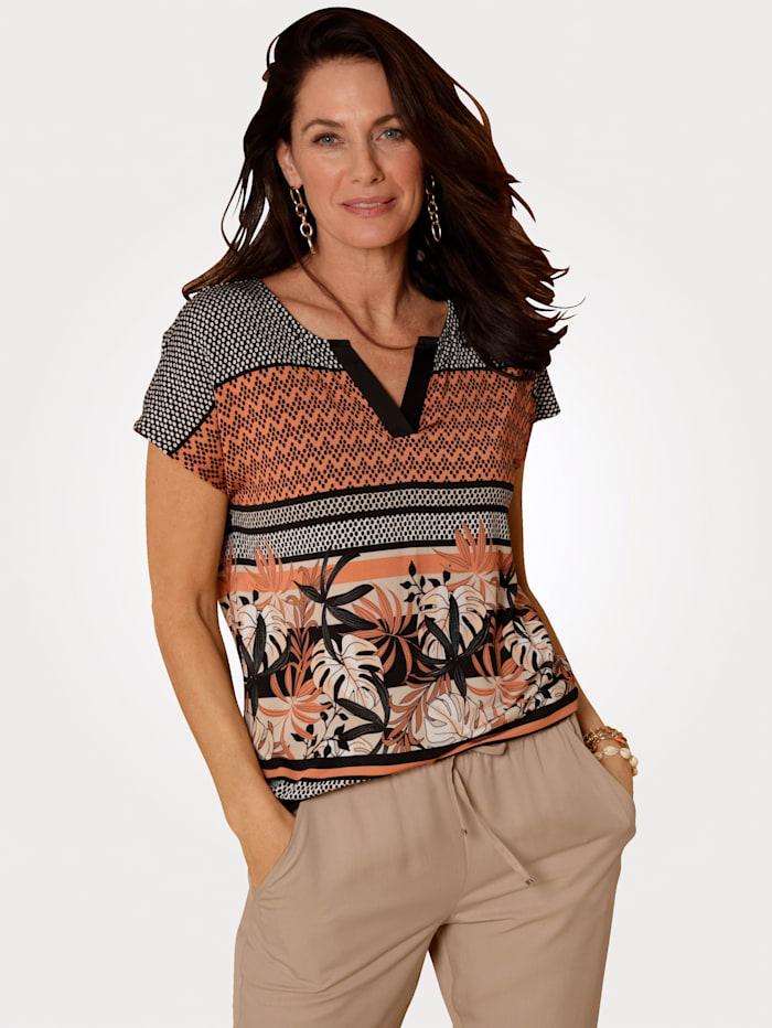 MONA Shirt in Tunikaform, Schwarz/Terracotta