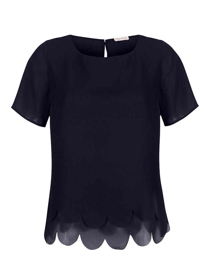 Alba Moda Blusenshirt mit Wellensaum im Layerlook, Marineblau