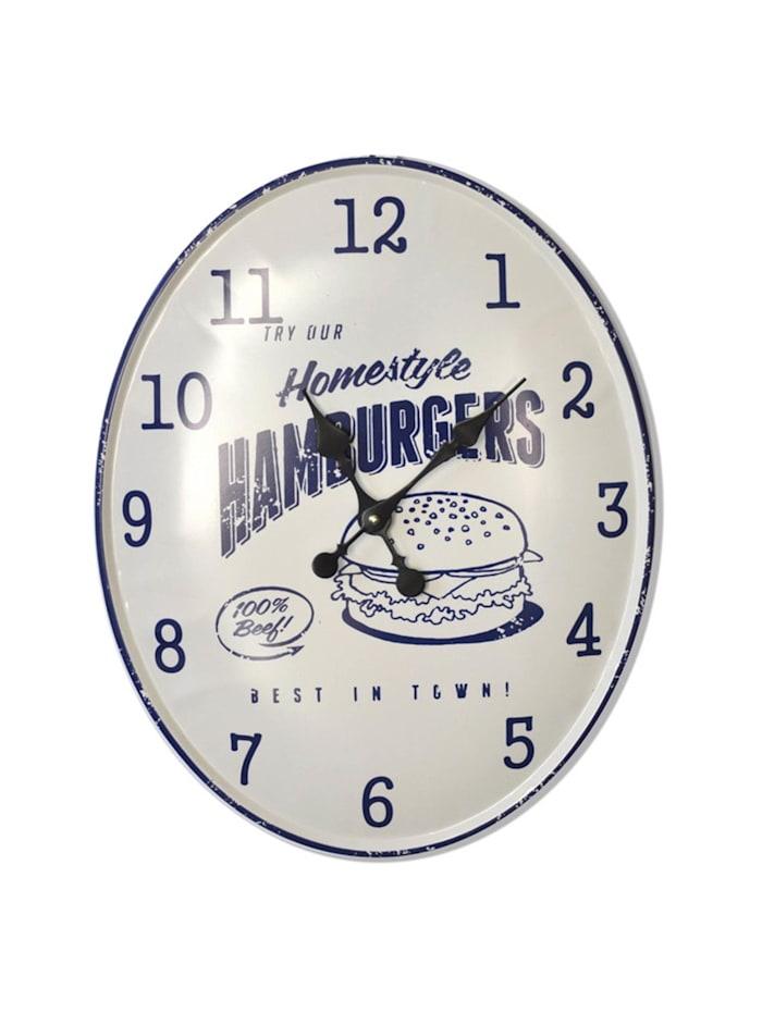 HTI-Line Wanduhr Hamburger, Weiß, Blau