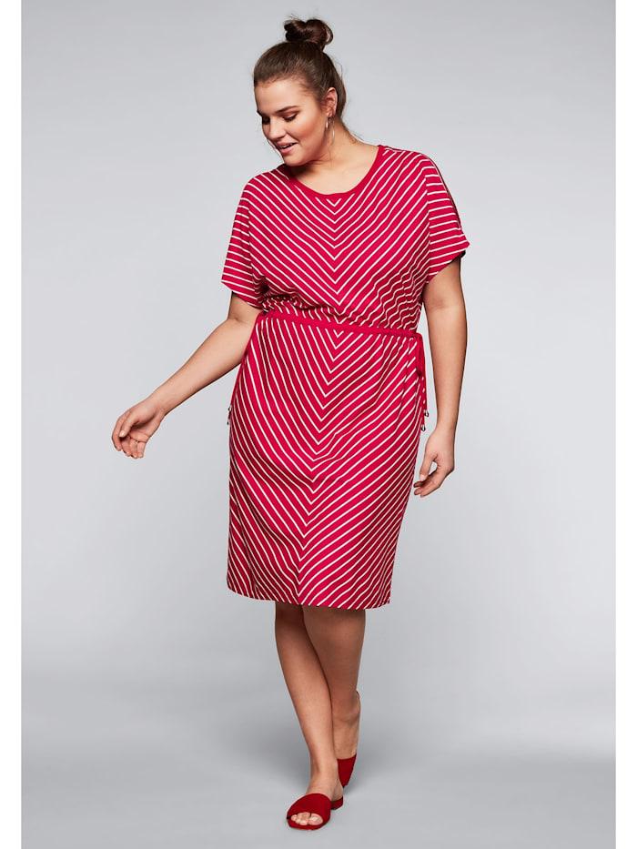 Sheego Sheego Jerseykleid mit Cut-Outs im Streifendesign, rot-offwhite