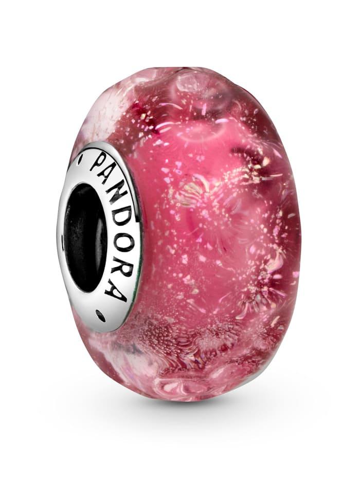 Pandora Charm - Wellenförmiges lachsfarbenes Muranoglas - 798872C00, Silberfarben
