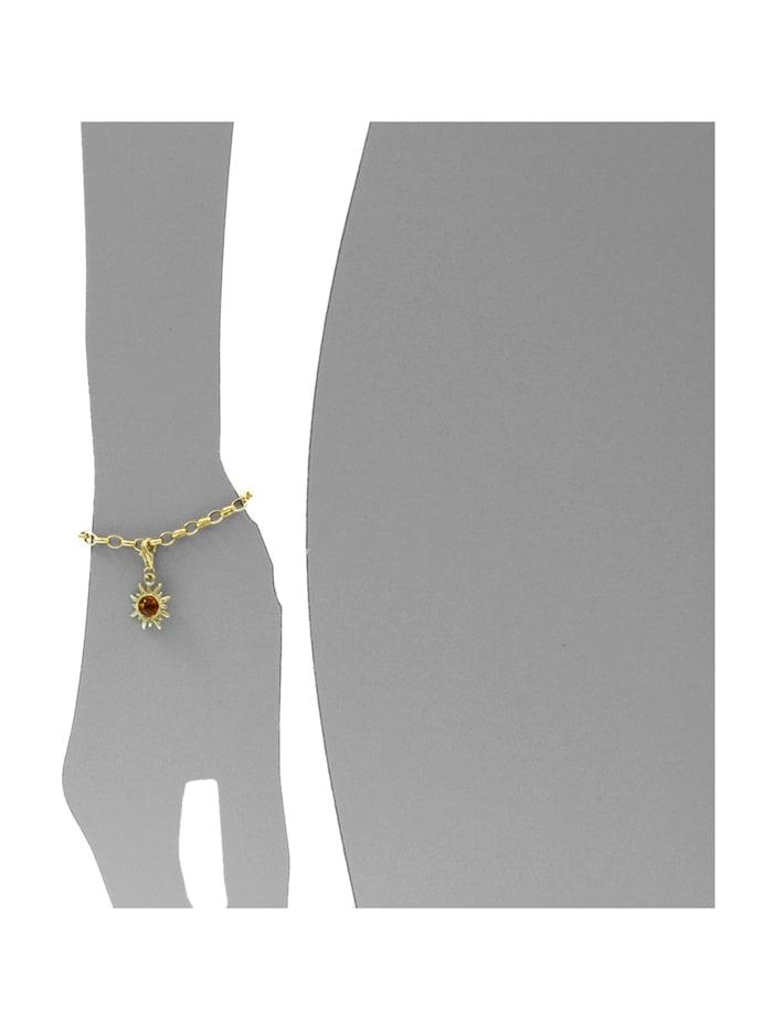 Charm-Einhänger - Sonne 14 mm - Gold 333/000 - Bernstein