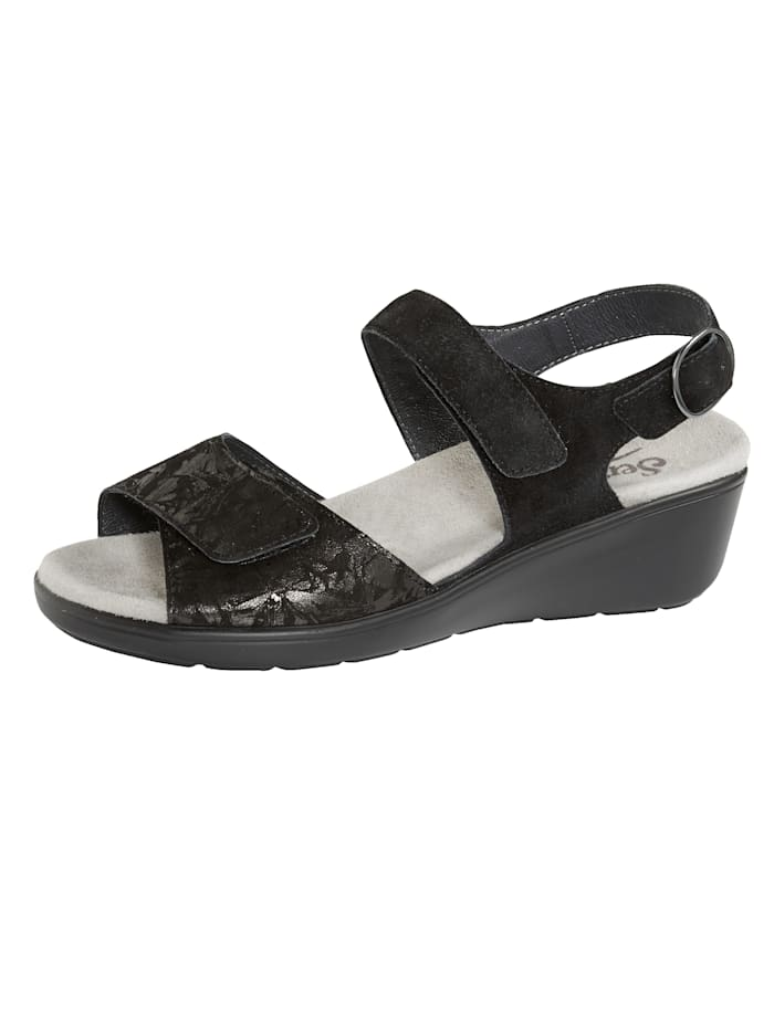 Semler Sandaaltje met luchtgepolsterde zool, Zwart