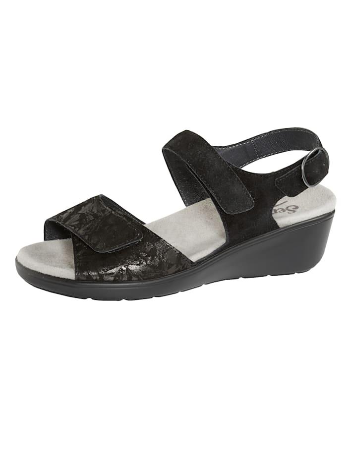 Semler Sandale mit Luftpolsterlaufsohle, Schwarz