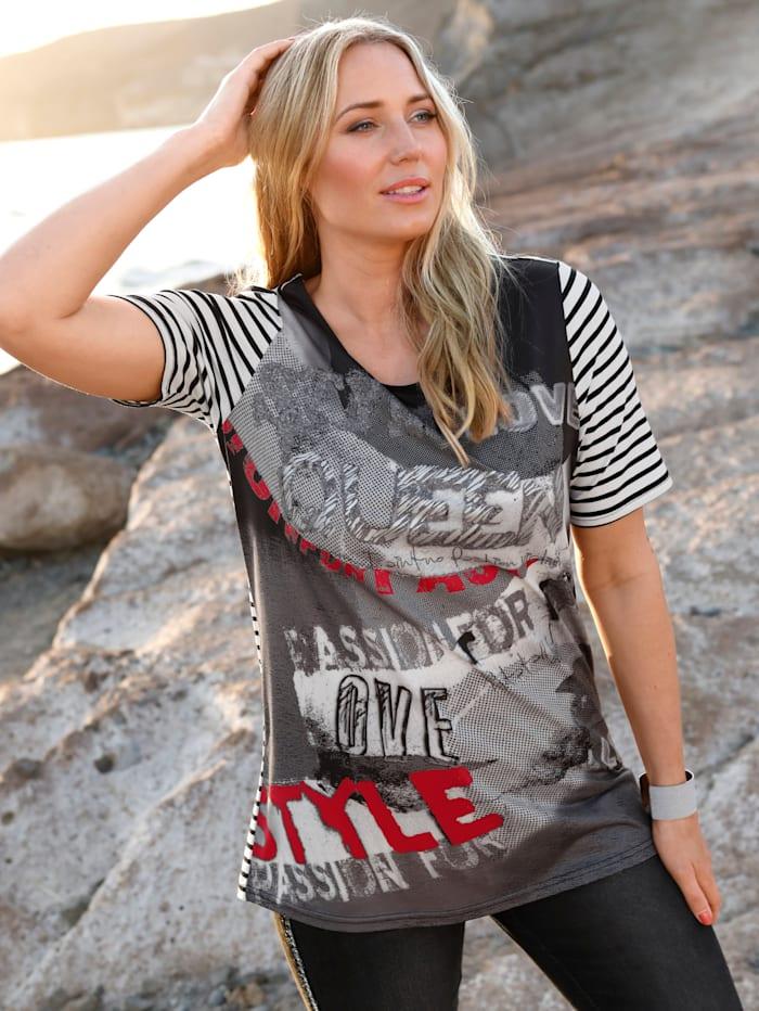 MIAMODA Shirt met patronenmix, Zwart/Wit