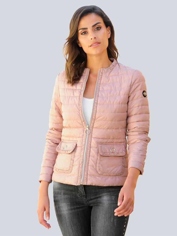 Alba Moda Gewatteerde jas met kleineruches, Roze