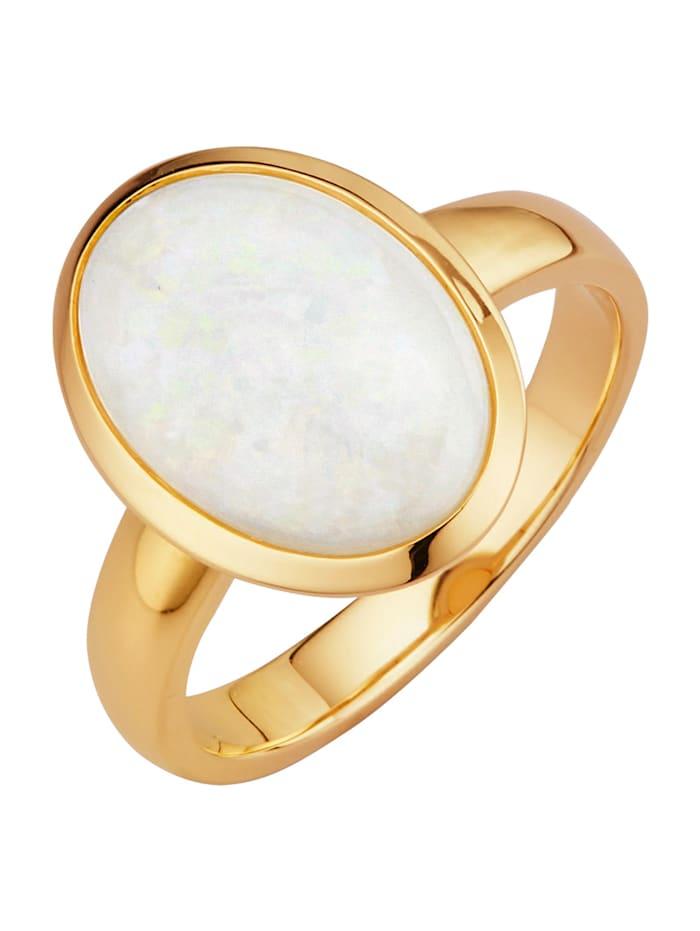 Damenring mit 1 Opal, Weiß
