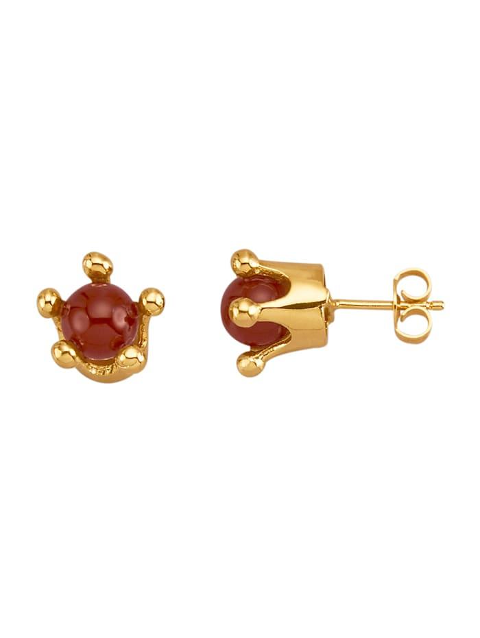 Amara Pierres colorées Boucles d'oreilles avec perles de carnéole, Rouge