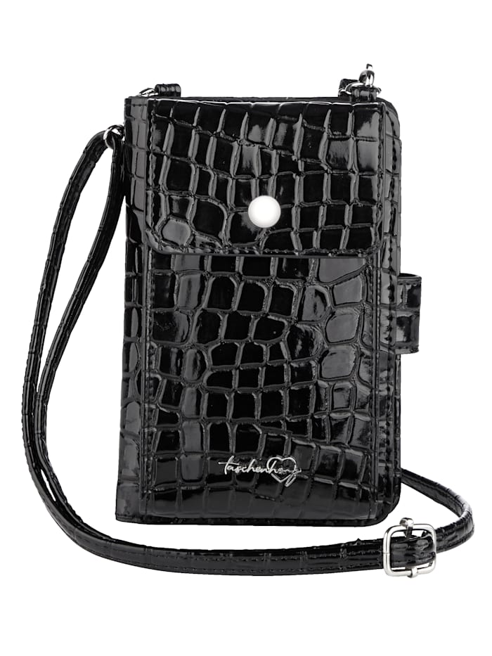 Taschenherz Phone bag with a built-in purse, Black/Croc