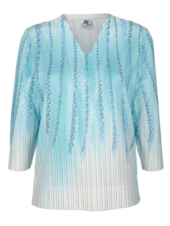 DiStrick Pullover mit Kettendruck, Türkis