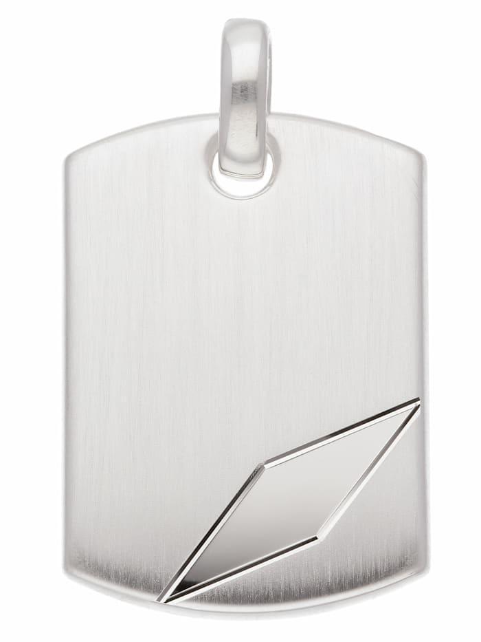 1001 Diamonds 1001 Diamonds Damen Silberschmuck 925 Silber Gravurplatte Anhänger, silber
