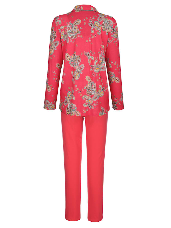 Pyjama met contrastkleurige mouwomslag