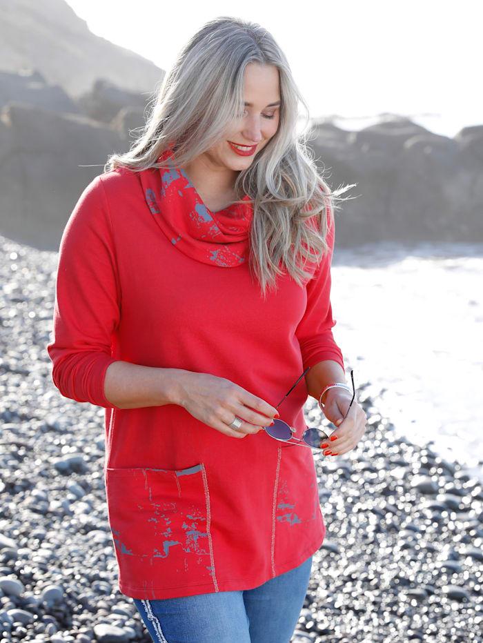 MIAMODA Sweatshirt mit halsfernem Kragen, Rot