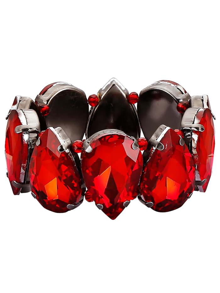 Armband met glassteentjes, Rood