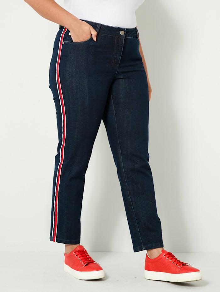 Sara Lindholm Jeans met band opzij, Dark blue