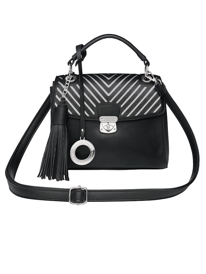 Emma & Kelly V-raidallinen käsilaukku, Musta