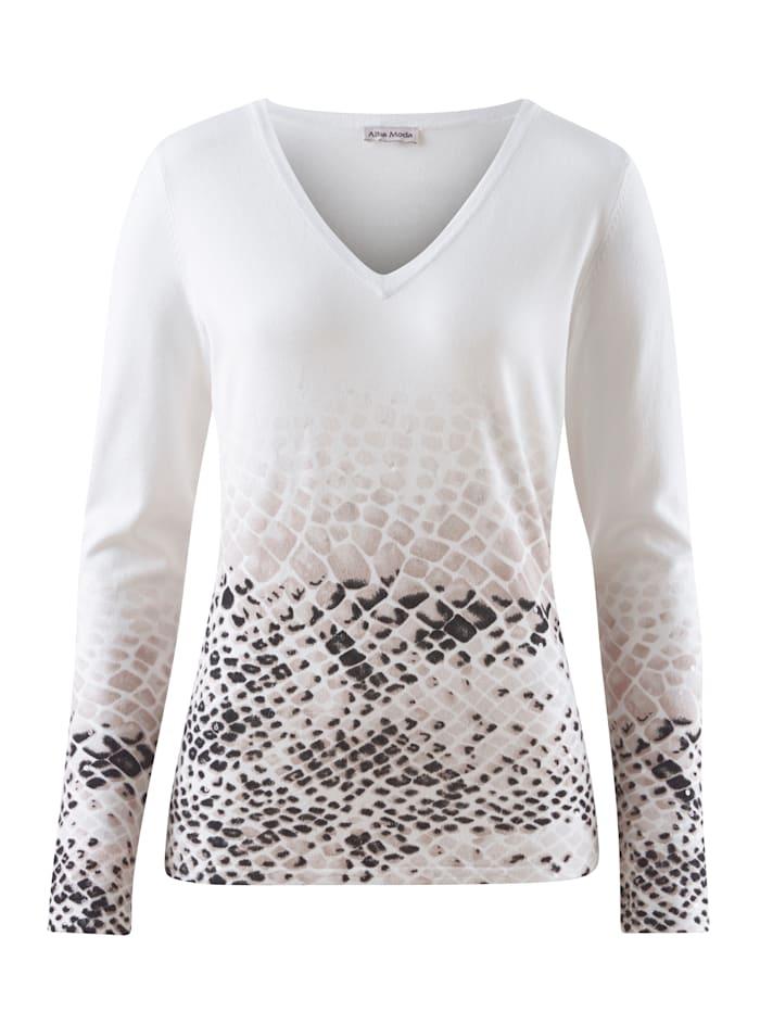 Alba Moda White Pullover mit Animal Dessin, Weiß/Grau/Schwarz