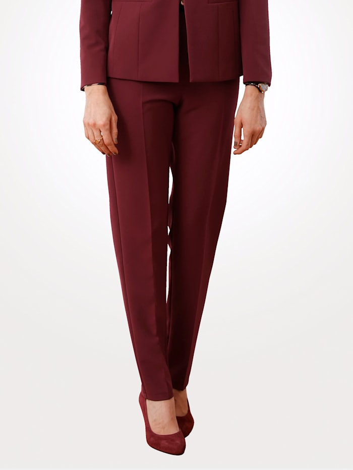 MONA Trousers with an elasticated waist, Berry