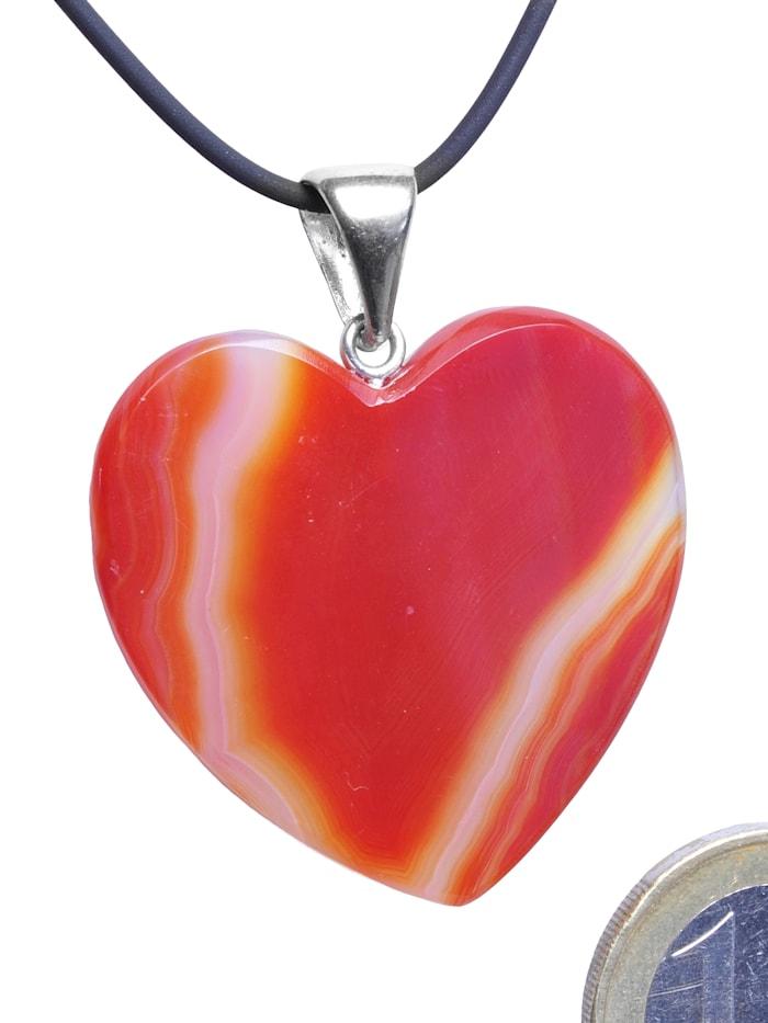 1001 Diamonds Damen Schmuck Edelstein Achat Anhänger 925 Silber rot Herz, rot