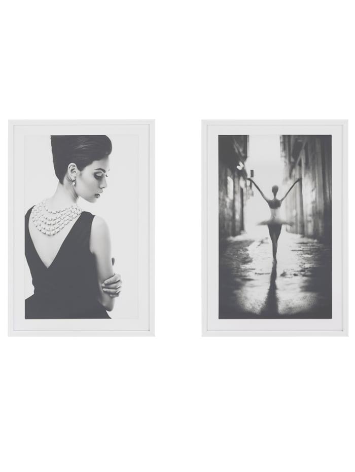 MARAVILLA Bilder-Set, 2-tlg., weiß/schwarz