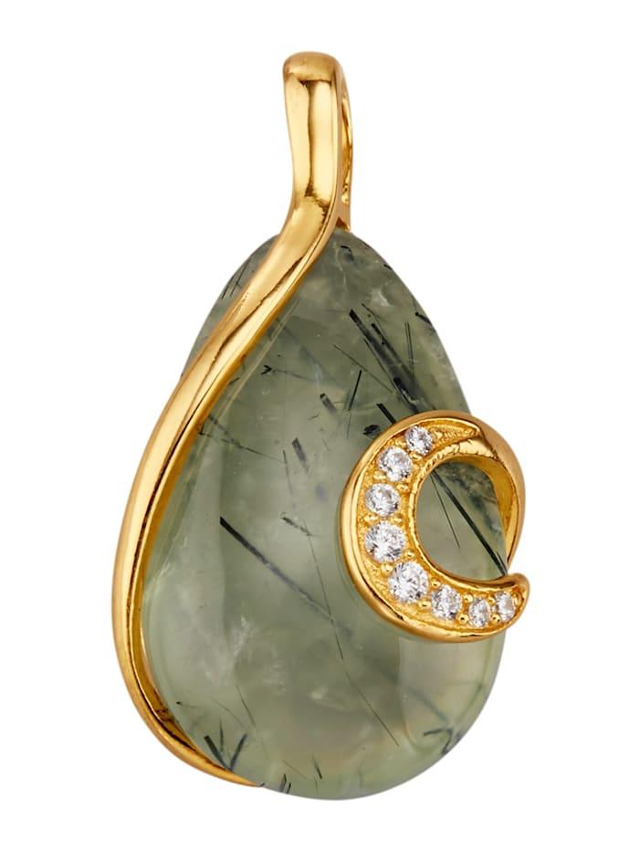 Kullanvärinen prehniittiriipus hopeaa, Vihreä