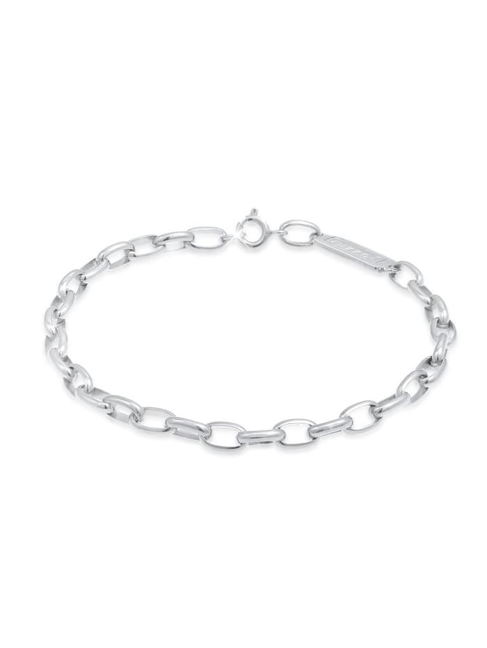 Kuzzoi Armband Herren Gliederkette Oval Massiv Basic 925 Silber, Silber