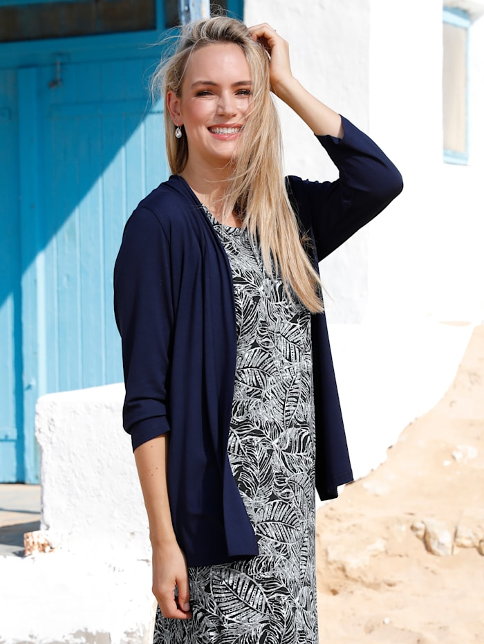 MIAMODA Vest in trendy kort model, Marine