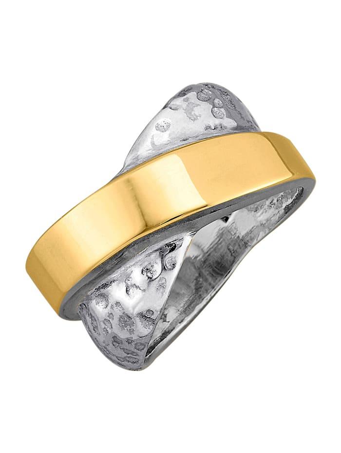 Diemer Trend Damesring van zilver en 14 kt. geelgoud, Geelgoudkleur