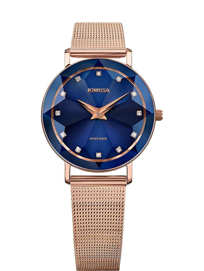 Jowissa Quarzuhr Facet Swiss Ladies Watch, blau