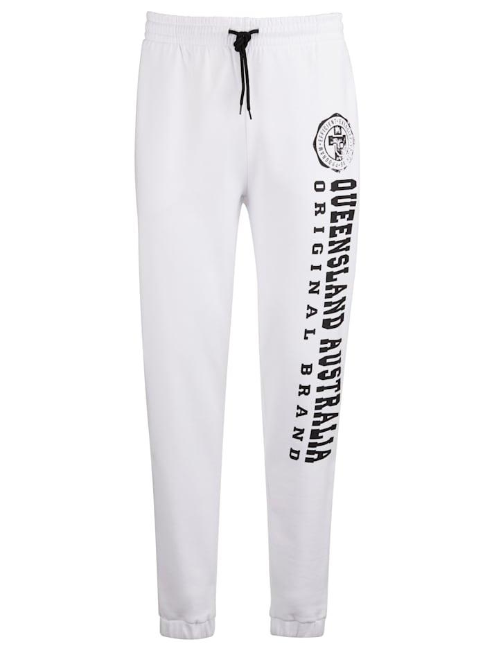 Men Plus Jogginghose aus reiner Baumwolle, Weiß/Schwarz
