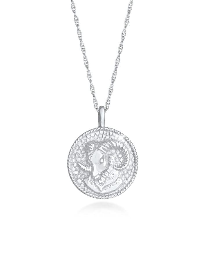 Elli Halskette Sternzeichen Widder Münze 925 Silber, Silber