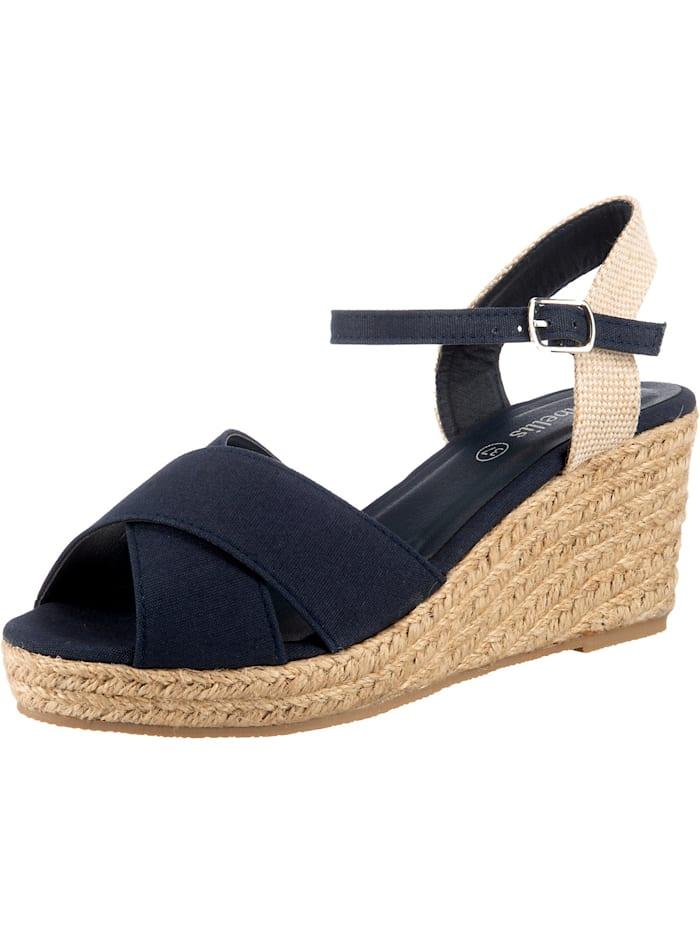 ambellis Peeptoe-Sandalette mit Keilabsatz, dunkelblau