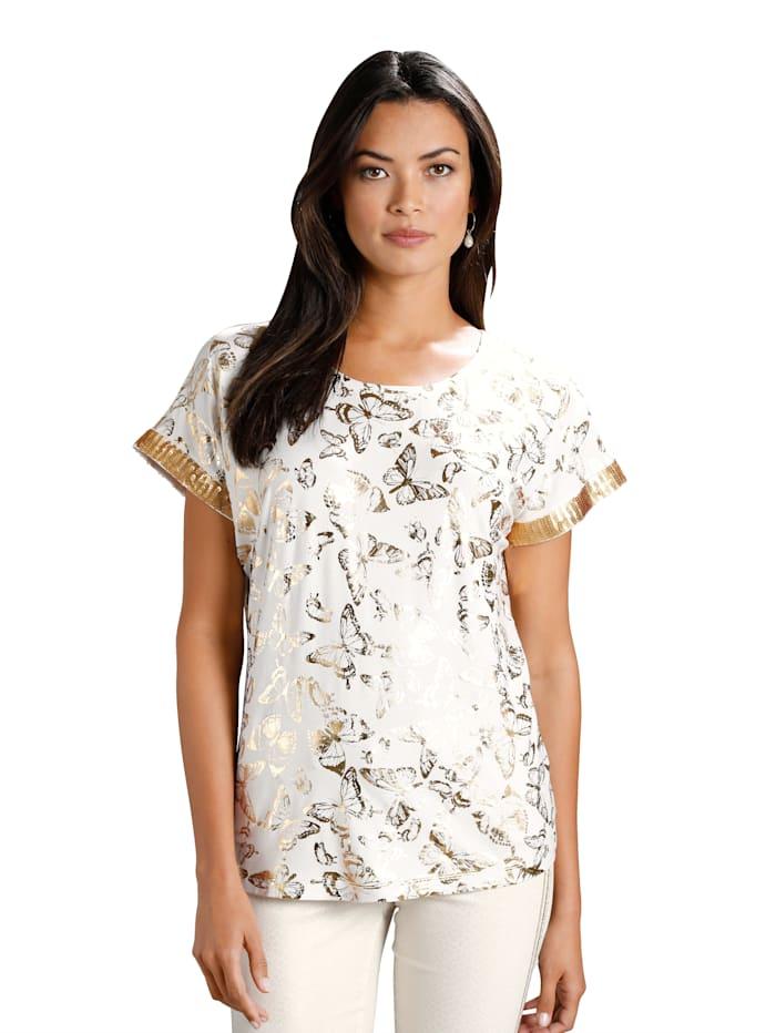AMY VERMONT Shirt met vlinderprint rondom, Offwhite/Goudkleur