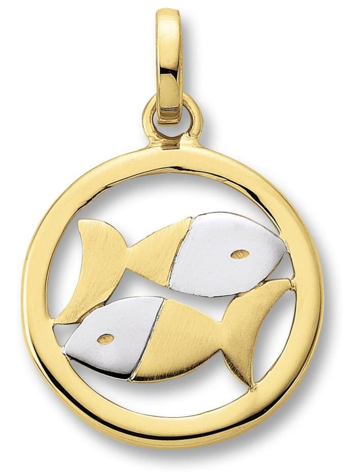 One Element Damen Schmuck Sternzeichen Anhänger Fische aus 333 Gelbgold, gold