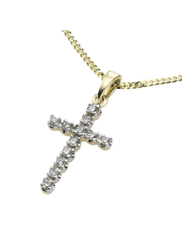 Diamonds by Ellen K. Anhänger mit Kette 585/- Gold Diamant weiß Diamant 42/45 cm Glänzend 0,12ct., gelb
