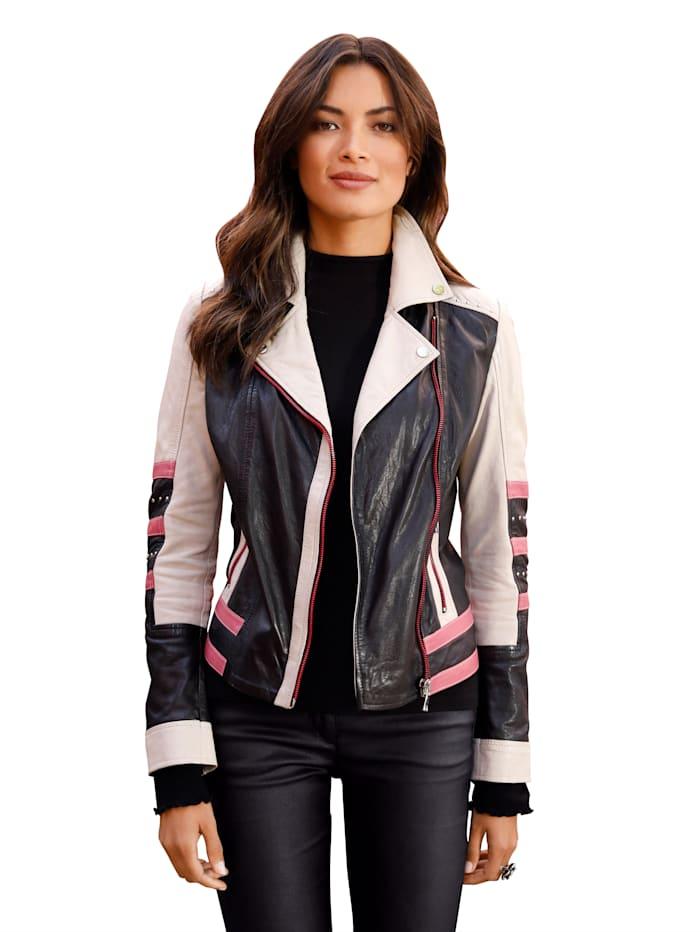 Maze Leren jasje met reverskraag, Zwart/Crème/Pink