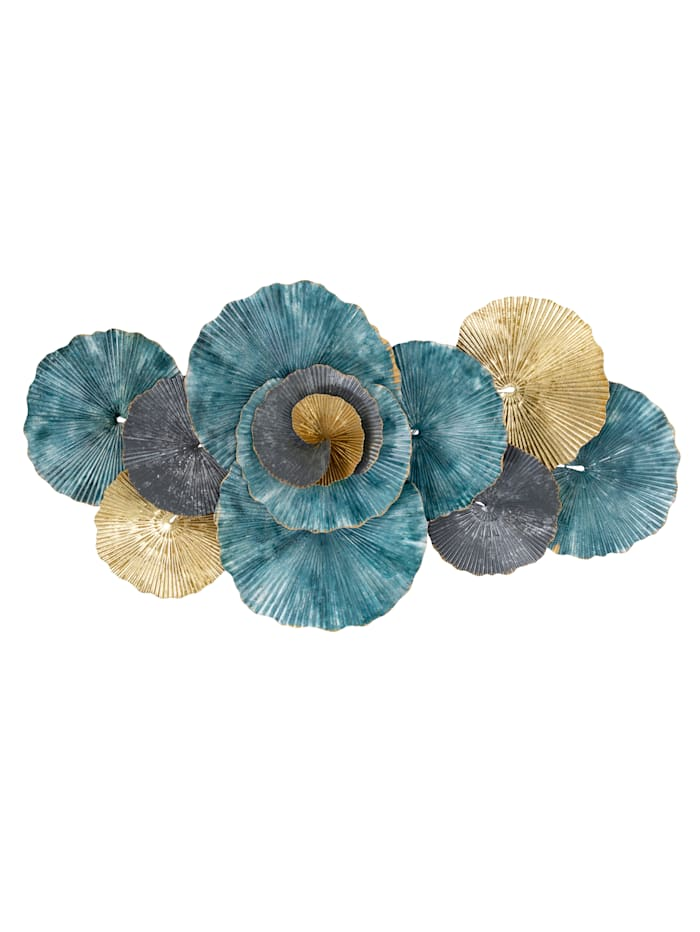 Boltze Wand-Deko, Blume, türkis/grau/goldfarben