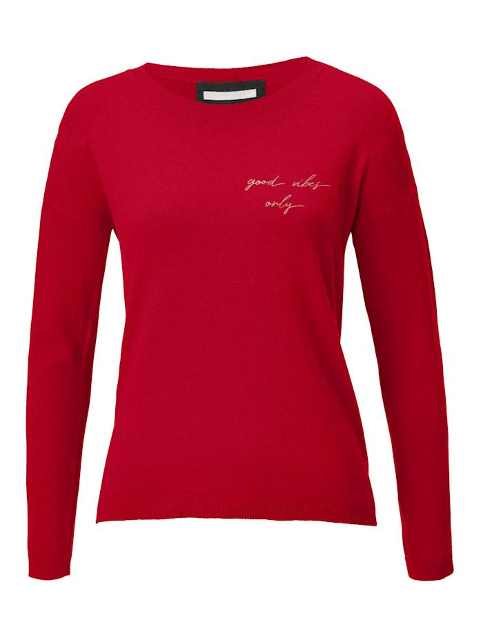REKEN MAAR Pullover mit Statement-Stickerei, Rot