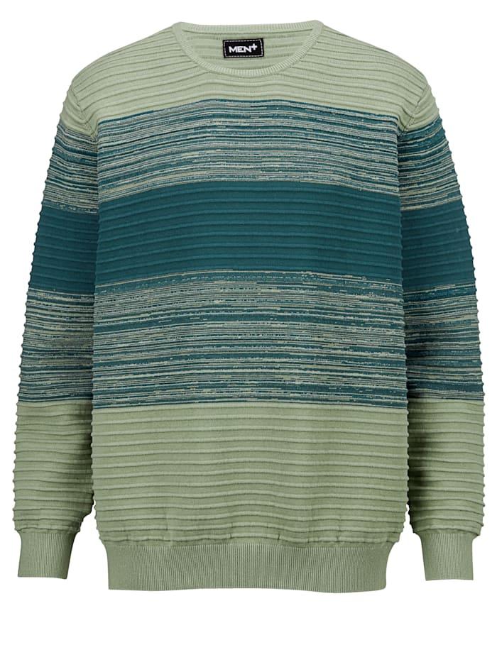 Men Plus Pullover aus reiner Baumwolle, Mintgrün/Blau