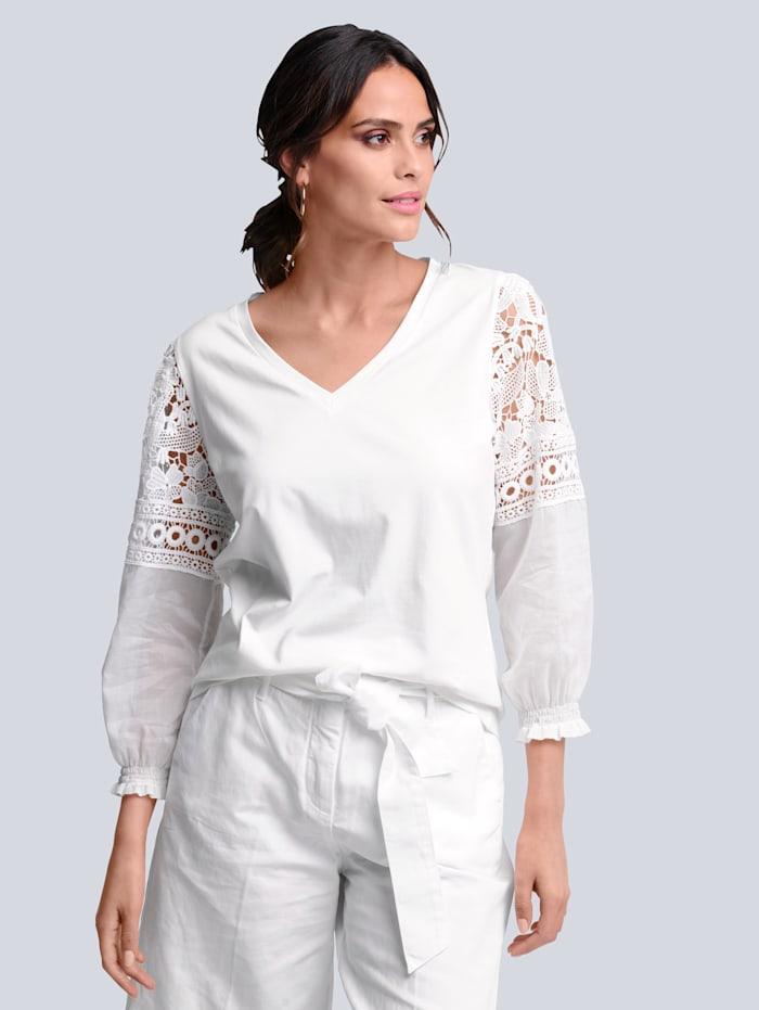 Alba Moda Shirt mit Spitzeneinsatz am Ärmel, Weiß